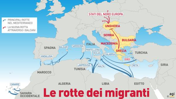 Le-rotte-dei-migranti-nel-Mediterraneo-verso-lEuropa-Uno-studio-AGI-1024x576